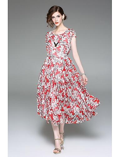Damen Swing Kleid-Ausgehen Niedlich Druck Rundhalsausschnitt Maxi Kurzarm Polyester Sommer Mittlere Hüfthöhe Mikro-elastisch Mittel