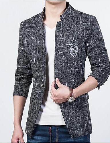 Herren Solide Einfach Lässig/Alltäglich Blazer,Ständer Herbst Lange Ärmel Standard Polyester
