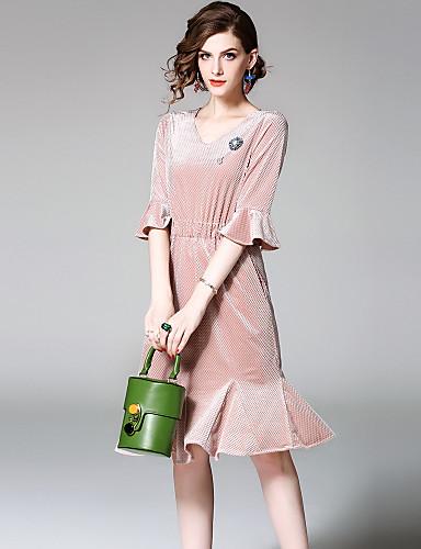 Damen Alltag Ausgehen Street Schick Hülle Knielang Kleid Solide V-Ausschnitt Halbe Ärmel Sommer Herbst