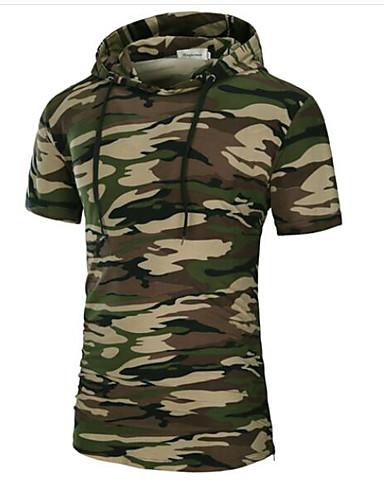 Herren Solide camuflaje Einfach Lässig/Alltäglich T-shirt,Mit Kapuze Frühling Sommer Kurzarm Baumwolle