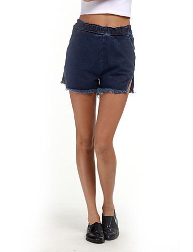 Damen Freizeit Street Schick Hohe Hüfthöhe Mikro-elastisch Breites Bein Kurze Hosen Hose,Polyester Sommer Solide