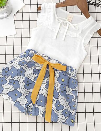 Mädchen Sets Blumen Baumwolle Polyester Sommer Ärmellos Kleidungs Set