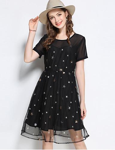Damen Hülle Kleid-Ausgehen Niedlich Druck Rundhalsausschnitt Knielang Kurzarm Polyester Sommer Mittlere Hüfthöhe Mikro-elastisch Mittel