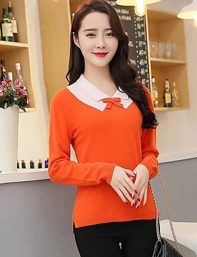 Damen Standard Pullover-Lässig/Alltäglich Solide V-Ausschnitt Langarm Nylon Herbst Winter Mittel Mikro-elastisch