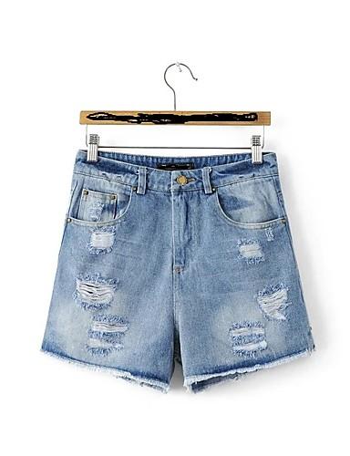 Damen Street Schick Mittlere Hüfthöhe Mikro-elastisch Lose Schlank Jeans Kurze Hosen Hose,Baumwolle Andere Frühling Sommer Solide