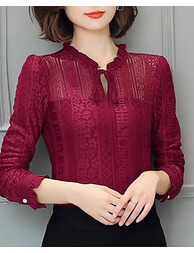 Damen Solide Einfach Lässig/Alltäglich Hemd,Ständer Herbst Langarm Andere