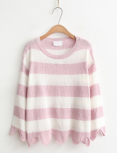 Damen Standard Pullover-Ausgehen Lässig/Alltäglich Einfach Niedlich Solide Gestreift Rundhalsausschnitt Langarm Baumwolle Frühling Herbst
