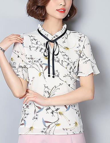 Damen Blumen Druck Einfach Lässig/Alltäglich Bluse,V-Ausschnitt Kurzarm Andere