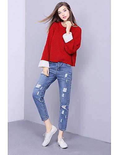 Damen Standard Pullover-Lässig/Alltäglich Niedlich Einfarbig Rundhalsausschnitt Langarm Baumwolle Herbst Mittel Mikro-elastisch