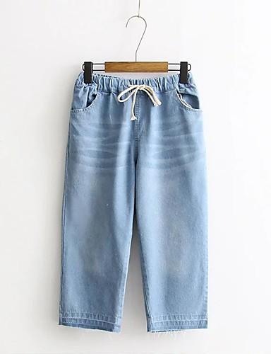 Damen Street Schick Mittlere Hüfthöhe Mikro-elastisch Lose Schlank Jeans Chinos Hose,Baumwolle Acryl Winter Frühling Sommer Herbst Solide