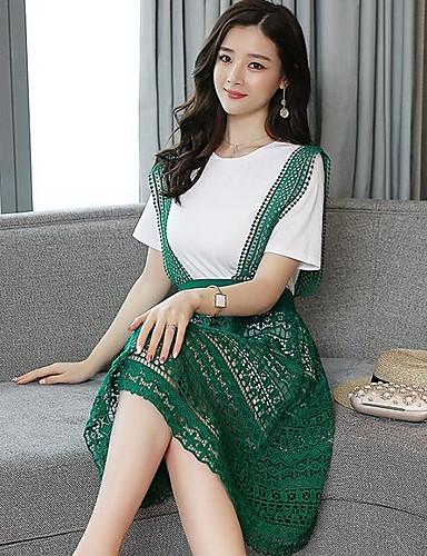 Damen Spitze Kleid-Lässig/Alltäglich Solide Rundhalsausschnitt Übers Knie Kurzarm Baumwolle Frühling Mittlere Hüfthöhe Unelastisch