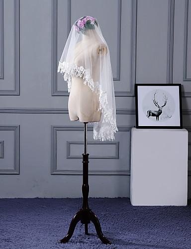 Egykapcsos Csipke szegély Menyasszonyi fátyol Ujjakig érő fátyol A Rátétek Csipke / Tüll / Klasszikus