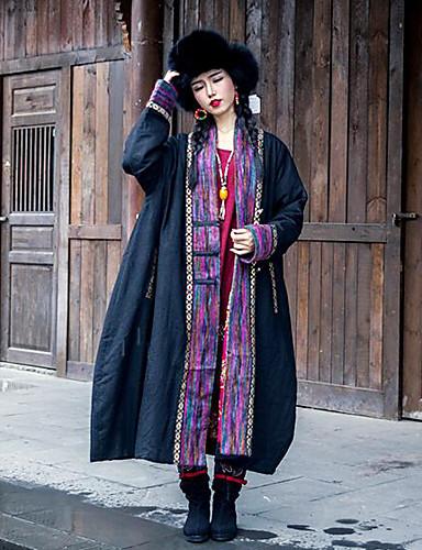 Damen Druck Chinoiserie Lässig/Alltäglich Mantel,V-Ausschnitt Winter Langärmelige Lang Baumwolle Leinen