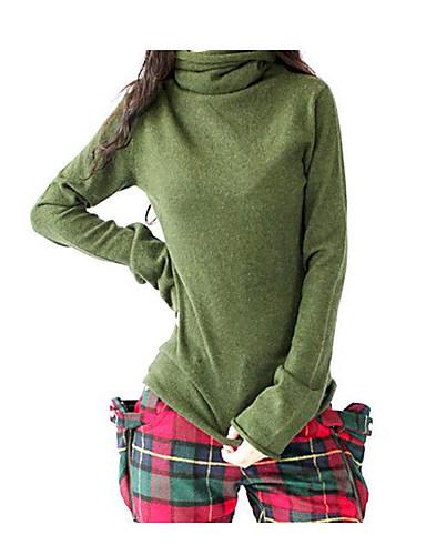 Damen Standard Pullover-Lässig/Alltäglich Solide Druck Rundhalsausschnitt Langarm Seide Kunst-Pelz Baumwolle Herbst Winter Mittel