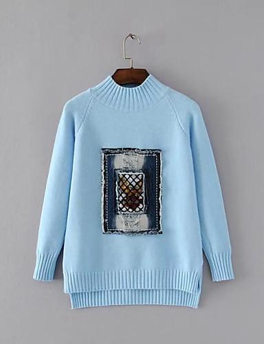 Damen Standard Pullover-Ausgehen Lässig/Alltäglich Einfach Solide Druck Rundhalsausschnitt Langarm Wolle Baumwolle Frühling Herbst Dünn