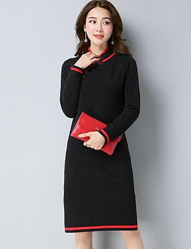 Damen Lang Pullover-Lässig/Alltäglich Solide Rundhalsausschnitt Langarm Wolle Nylon Andere Herbst Winter Mittel Mikro-elastisch