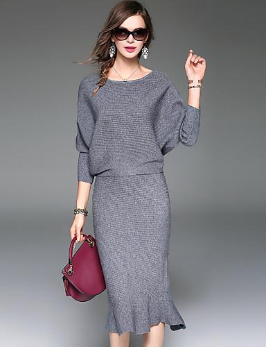 Responsabile Per Donna Per Uscire Moda Città - Sofisticato T-shirt Tinta Unita Gonna #06080786 I Clienti Prima Di Tutto