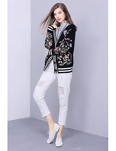Damen Standard Strickjacke-Lässig/Alltäglich Einfach Druck Rundhalsausschnitt Langarm Polyester Herbst Mittel Mikro-elastisch