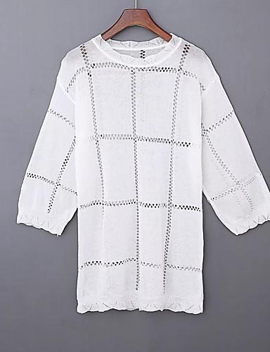 Damen Solide Einfach Sexy Street Schick Ausgehen Lässig/Alltäglich T-shirt,Rundhalsausschnitt Sommer Langarm Baumwolle Dünn Mittel