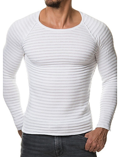 Men's Sports / Work / Weekend Active Long Sleeve Slim Pullover - Solid Colored Round Neck