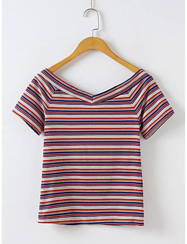 Damen Gestreift Aktiv Sexy Sport Lässig/Alltäglich Strand T-shirt,V-Ausschnitt Sommer Herbst Kurzarm Baumwolle Leinen Dünn Mittel