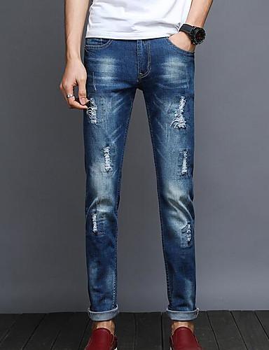 Herren Einfach Mittlere Hüfthöhe Mikro-elastisch Jeans Schlank Hose Solide