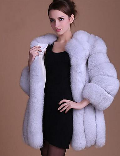 a4b105632f7c2 Mujer Otoño   Invierno Tallas Grandes Largo Abrigo de Piel