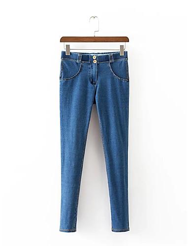 Damen Street Schick Mittlere Hüfthöhe Mikro-elastisch Schlank Jeans Hose,Baumwolle Polyester Ganzjährig Solide