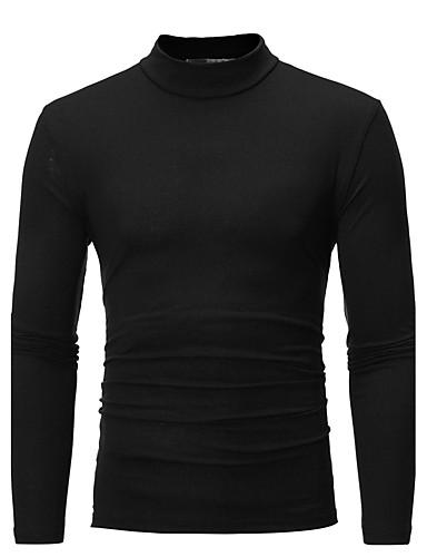 男性用 プラスサイズ Tシャツ ベーシック タートルネック スリム ソリッド コットン ダックグレー XL / 長袖 / 秋