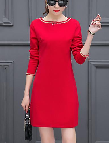 Damen Etuikleid Kleid-Ausgehen Einfach Patchwork Rundhalsausschnitt Übers Knie Langarm Polyester Nylon Frühling Herbst Mittlere Hüfthöhe