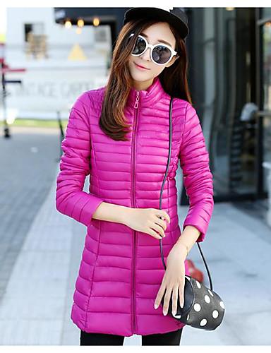 Damen Daunen Mantel Einfach Aktiv Ausgehen Solide Gestreift Druck-Baumwolle Acryl Andere Polypropylen Langarm