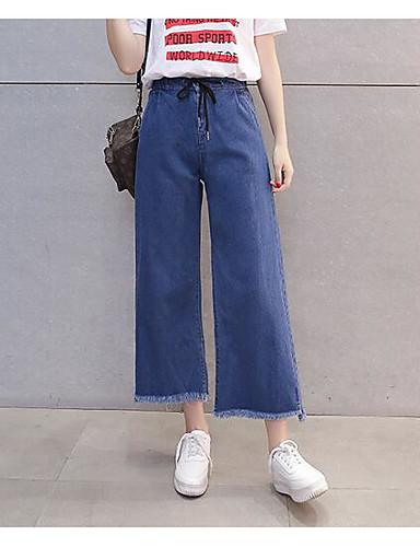 Damen Einfach Hohe Hüfthöhe Mikro-elastisch Chinos Jeans Breites Bein Hose Solide
