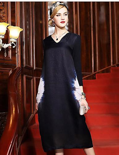 Damen Hülle Kleid-Lässig/Alltäglich Solide Druck Patchwork V-Ausschnitt Midi 3/4 Ärmel Nylon Frühling Mittlere Hüfthöhe Mikro-elastisch