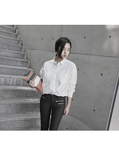 نساء قميص كاجوال/يومي عمل بسيط سادة قبعة القميص كم طويل قطن