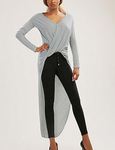 Damen T Shirt Kleid-Lässig/Alltäglich Sexy Solide V-Ausschnitt Maxi Langarm Baumwolle Herbst Hohe Hüfthöhe Mikro-elastisch Mittel