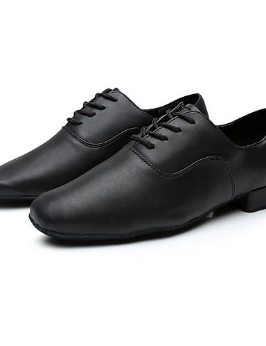 povoljno Cipele za ples-Muškarci Plesne cipele Svinjska koža Cipele za latino plesove Tenisice Potpetica po mjeri Moguće personalizirati Crn / Unutrašnji / EU43