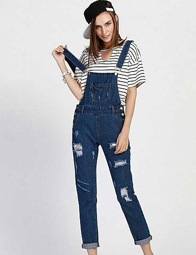 Damen Niedlich Hohe Hüfthöhe Mikro-elastisch Jeans Overall Lose Hose Solide