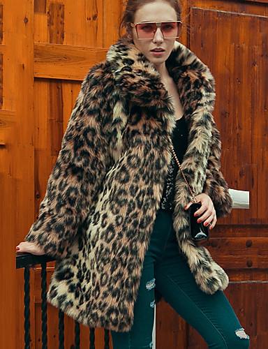 Women's Vintage Plus Size Faux Fur Fur Coat - Leopard Shirt Collar