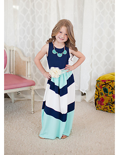 Girl's Striped Dress, Cotton Summer Sleeveless Stripes Blue