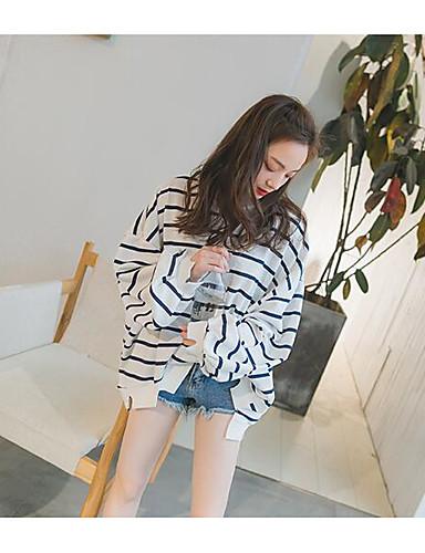 Damen Pullover Sport Ausgehen Lässig/Alltäglich Einfach Aktiv Boho Solide Gestreift Rundhalsausschnitt Fleece-Futter Mikro-elastisch