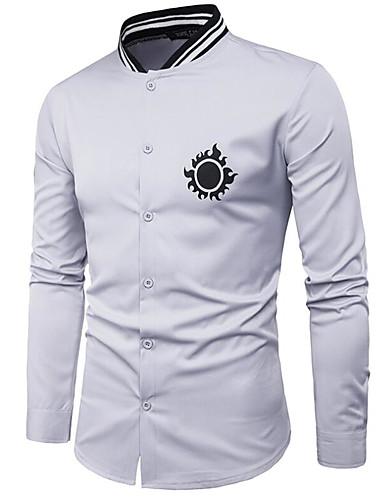 Herren Druck Einfach Lässig/Alltäglich Hemd,Hemdkragen Langarm Baumwolle