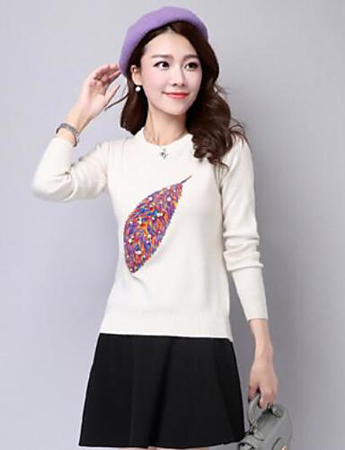 Damen Standard Pullover-Lässig/Alltäglich Druck Rundhalsausschnitt Langarm Baumwolle Herbst Winter Mittel Mikro-elastisch