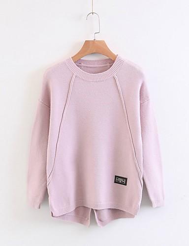 Damen Standard Pullover-Ausgehen Lässig/Alltäglich Einfach Solide Rundhalsausschnitt Langarm Andere Frühling Herbst Dünn Mittel
