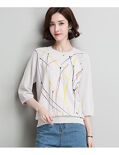 Damen Standard Pullover-Lässig/Alltäglich Solide Druck Rundhalsausschnitt Langarm Leinen Andere Frühling Sommer Dünn Dehnbar