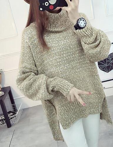 Damen Standard Pullover-Lässig/Alltäglich Solide Rollkragen Langarm Baumwolle Leinen Herbst Dick Mikro-elastisch