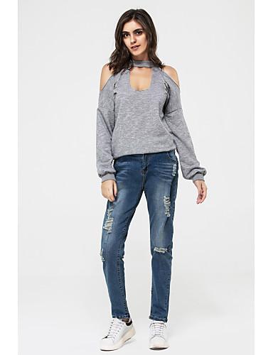女性用 ホール Tシャツ シンプル ストリートファッション ソリッド