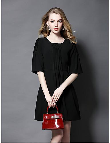 Damen Hülle Kleid-Ausgehen Niedlich Solide Rundhalsausschnitt Übers Knie Halbe Ärmel Polyester Sommer Mittlere Hüfthöhe Mikro-elastisch