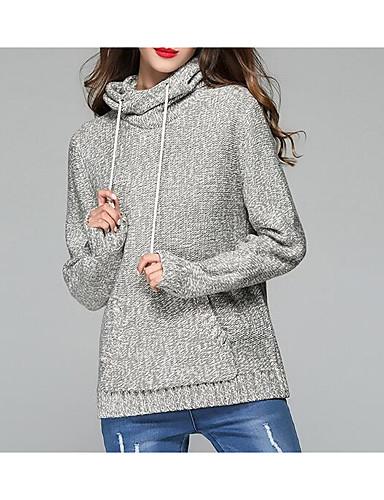 Damen Standard Pullover-Lässig/Alltäglich Einfach Solide Mit Kapuze Langarm Acryl Herbst Winter Dick Mikro-elastisch