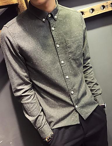 Herren Solide Einfach Ausgehen Lässig/Alltäglich Hemd,Ständer Langarm Baumwolle Andere