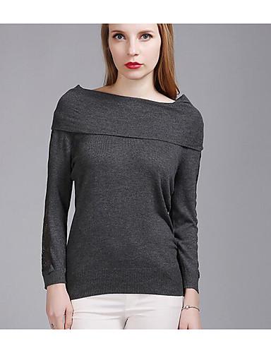 Damen Kurz Pullover-Lässig/Alltäglich Einfach Solide Bateau Langarm Nylon Frühling Mittel Mikro-elastisch